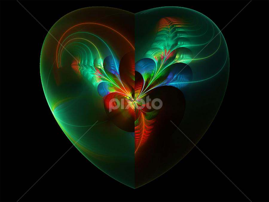Heart in green by Cassy 67 - Illustration Abstract & Patterns ( hearts, heart, flowerrs, digital art, fractal, digital, fractals, flower )