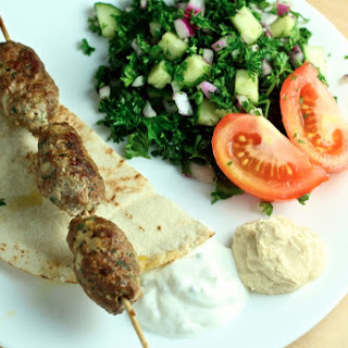 Kofta Beef Kebabs with Pita & Parsley Salad