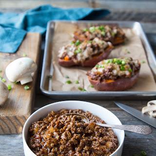 Turkey & Mushroom BBQ Stuffed Sweet Potatoes.