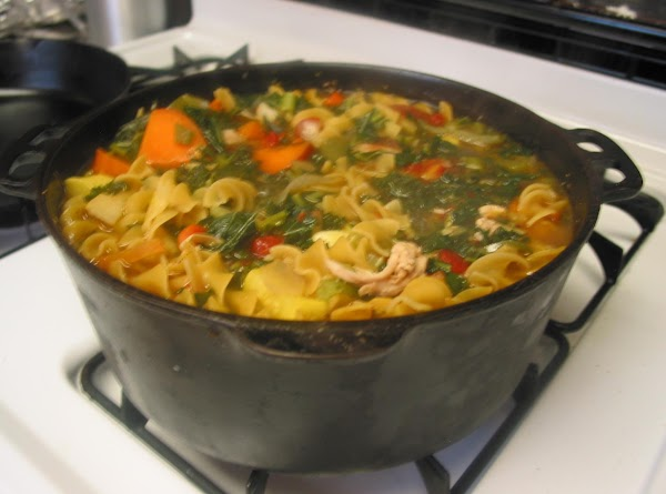 place all chopped veggies into skillet to brown (reserve kale for later) cover with...
