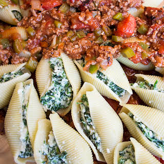 Spinach Stuffed Shells with Meat Sauce.