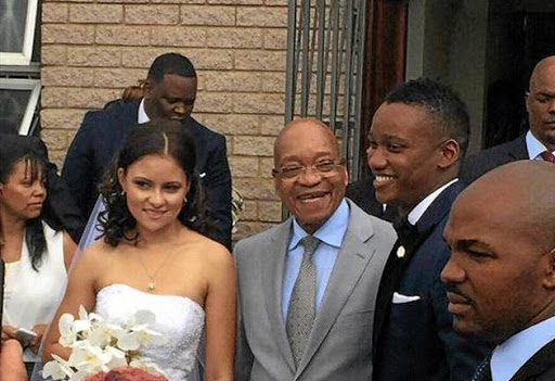 A clearly delighted President Jacob Zuma after becoming father-in-law to Shanice Stork, with Duduzane next to him.