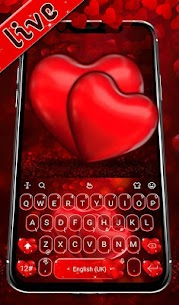 Live Red Romantic Heart Keyboard Theme 1