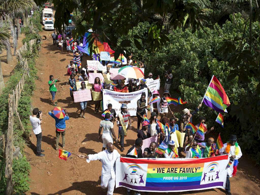 Members of the lesbian, gay, bisexual and transgender (LGBT) community parade in Entebbe, southwest of Uganda's capital Kampala, August 8, 2015. Photo/REUTERS