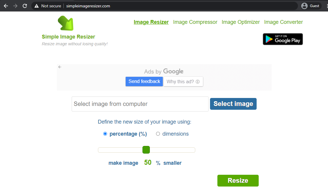 simple image resizer landing page