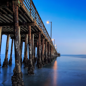 Avila Pier by Paul Judy - Buildings & Architecture Public & Historical ( avila beach, california, sunset, beach, wharf, dusk, central coast )