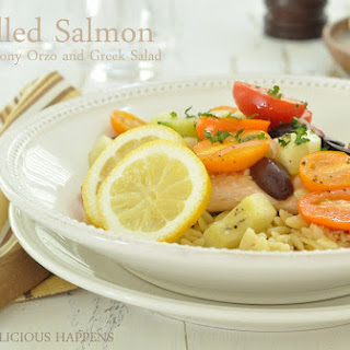 Grilled Salmon with Lemony Orzo