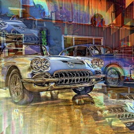Corvette and Jaguar by JEFFREY LORBER - Digital Art Things ( jeffrey lorber, rust 'n chrome, cars, illuision, lorberphoto, corvette, jaguar )