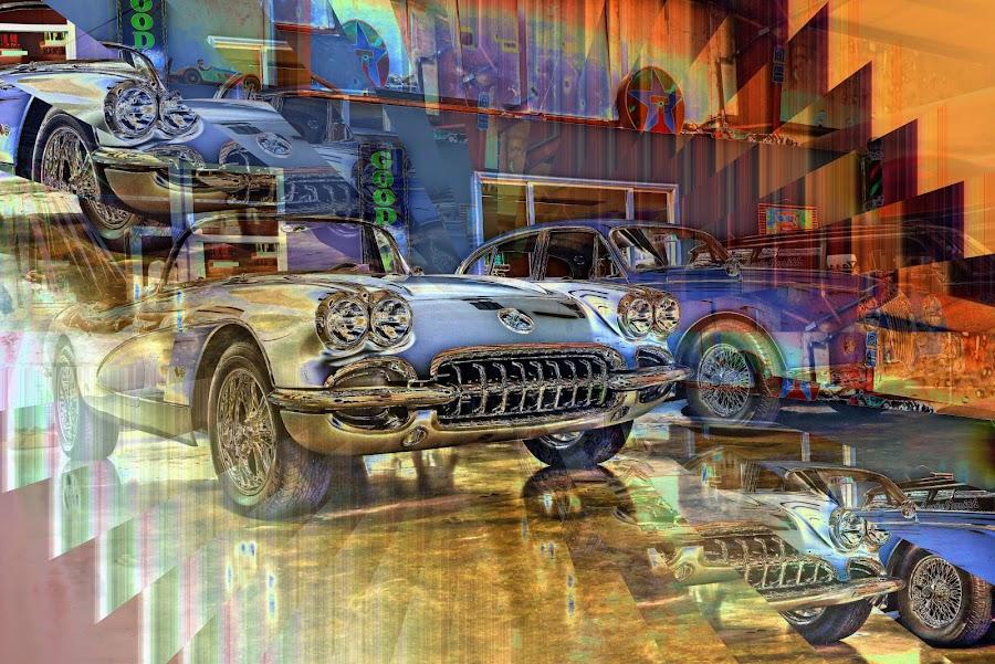 Corvette and Jaguar by JEFFREY LORBER - Digital Art Things ( jeffrey lorber, rust 'n chrome, cars, illuision, lorberphoto, corvette, jaguar )