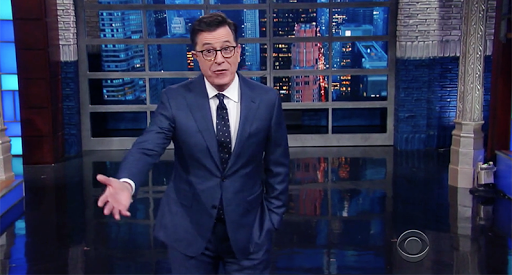 Stephen Colbert corrects, lectures audience that cheered Trump's dismissal of FBI director