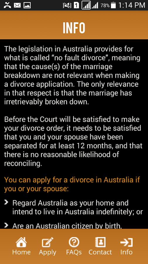 Divorce in Australia- screenshot