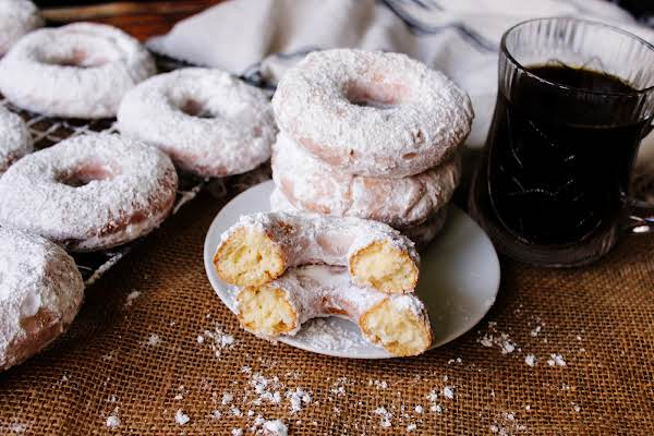 A Plate Of Dad's Cake Doughnuts.
