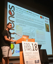 """Photo: F. Javier Alonso-Floriano during the Poster Pop-up of the CARMENES posters at """"Cool Star 18"""" #cs18 - In the Splinter session. """"Portraying The Hosts: Stellar Science From Planet Searches""""."""