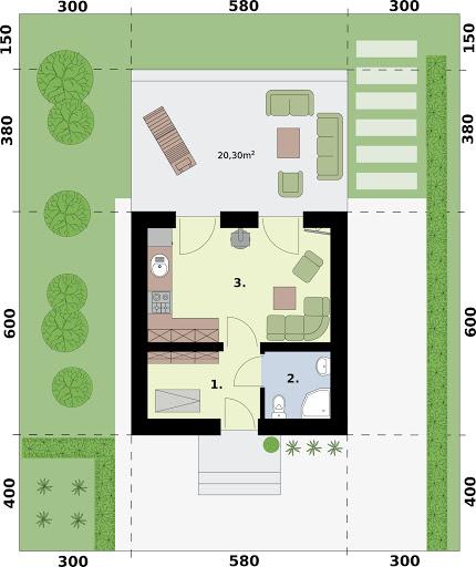 Lido 2 A dom letniskowy na zgłoszenie do 35m2 - Rzut parteru