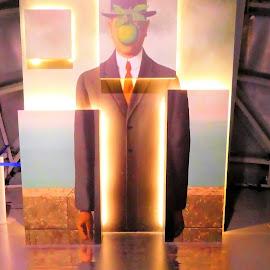 The digital installation: man and green apple by Svetlana Saenkova - Digital Art People ( art, reflection, museum, light, painting with light )