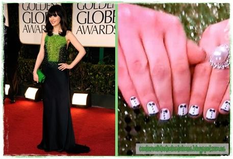 Manicura - Nail Art - Globos de Oro 2012 - Zooey Deschanel