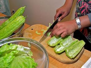 Photo: slicing bitter melon to make a salad