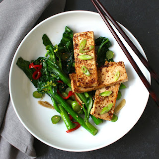 Miso Mustard Tofu over Asian Greens