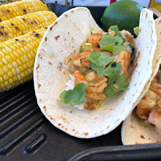 Grilled Chipotle Beer and Shrimp Tacos.