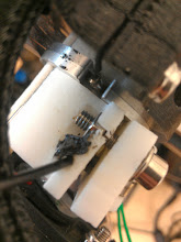 Photo: A bit of weld build-up (Soldering iron + filament) to patch the worn spot in the original cold end block.