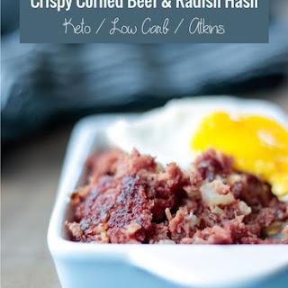 Crispy Keto Corned Beef Hash with Radishes.