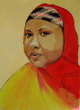 "Photo: Portrait of Shukri 30 x 22"" acrylic on BFK Rives"