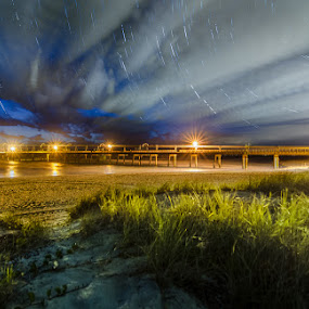 Pier amd Trails by Daryl James - Landscapes Travel ( clouds, dawn, spit, nature, hdr, sunrise )
