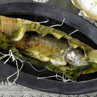 Curried Trout in Banana Leaves.