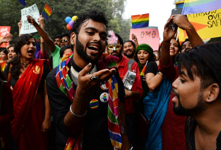 Indian members and supporters of the lesbian, gay, bisexual, transgender community take part in a pride parade in New Delhi on November 12, 2017.