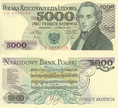 Photo: Fryderyk Franciszek Chopin, 5000 Polish Zloty (1982). This note is now obsolete. Chopin was not a physicist or mathematician, but a great composer.