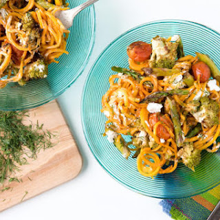 Roasted Spring Vegetables with Butternut Squash Noodles.