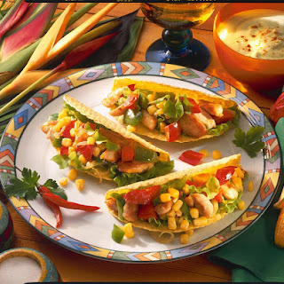 Chicken and Vegetable Tacos with Guacamole.