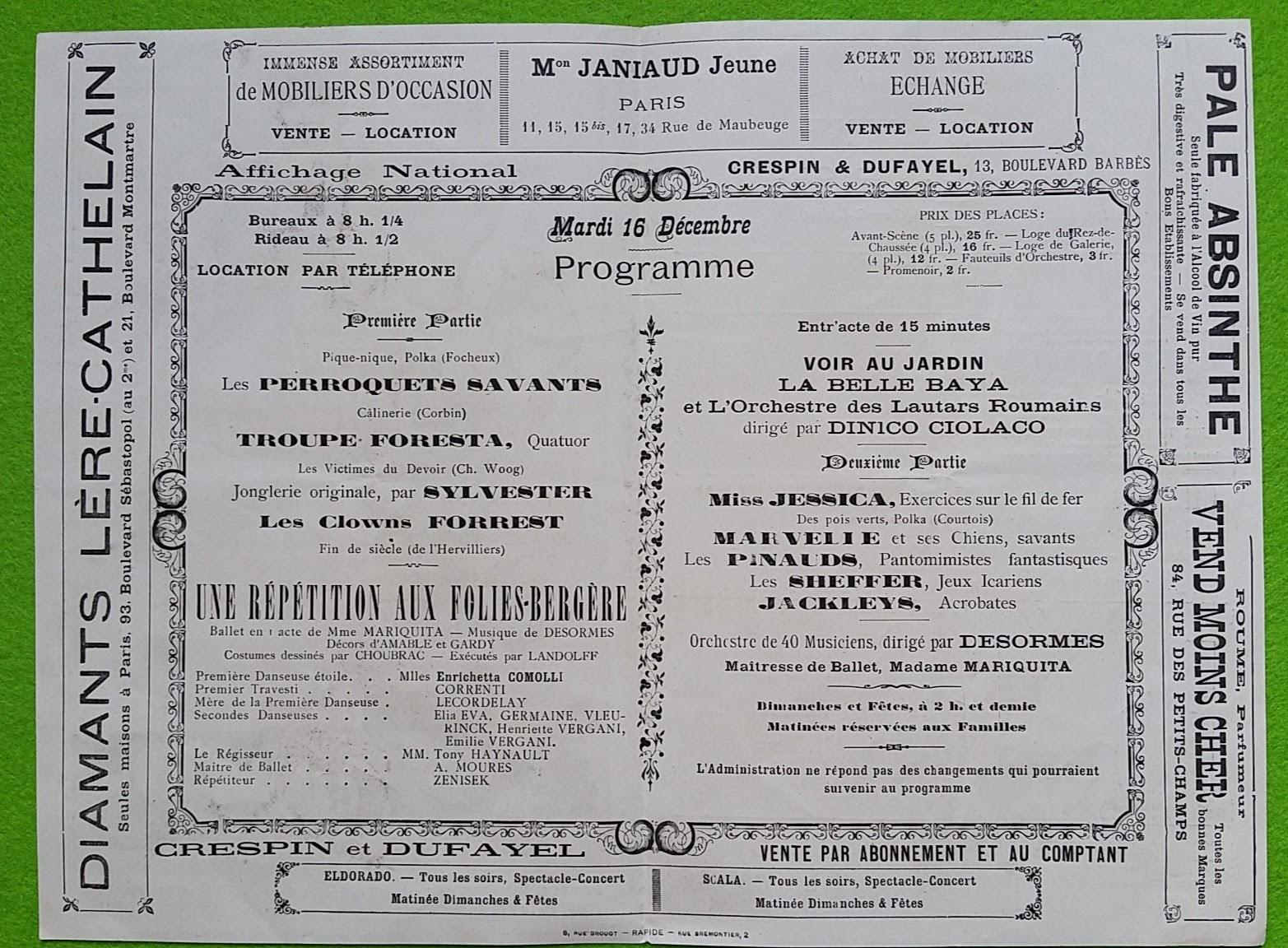 Folies Bergere in Paris - Programm vom 16. Dezember 1890