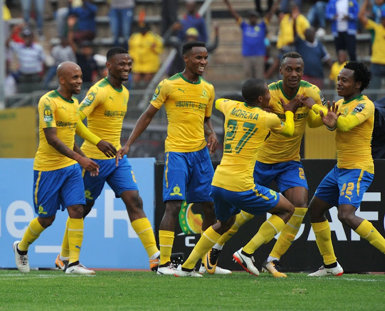 Mamelodi Sundowns players celebrate a goal.