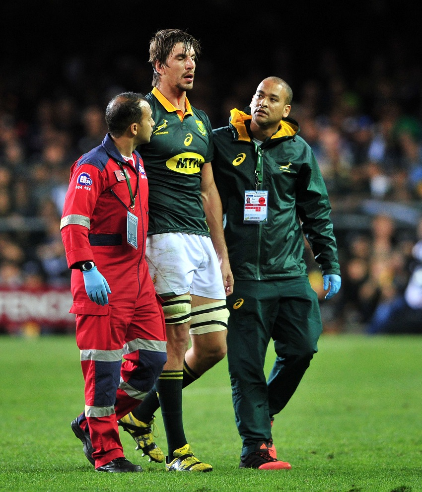 Eben Etzebeth of South Africa leaves the field through injury during the 2017 Castle Lager Rugby Championship game between South Africa and New Zealand at Newlands Rugby Stadium on 7 October 2017.