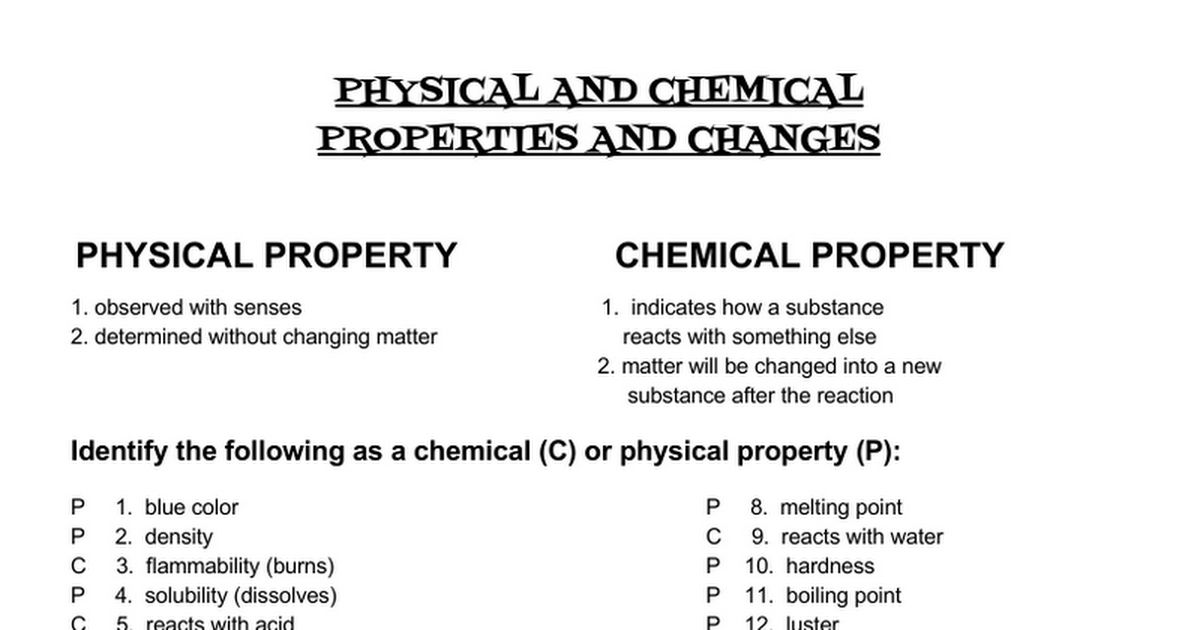 ANSWERS PhysicalChemical PropertiesChange Google Docs – Physical and Chemical Properties of Matter Worksheet