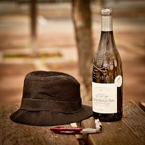 in the mood... by Dmitry Samsonov - Artistic Objects Other Objects ( wine, provence, chateauneuf-du papecha, vine, mood, france, chateau, hat,  )