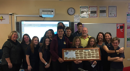 One of the classes that Toby Linehan helped out as a teacher's aide in was Year 8 English. Pictured is class teacher Therese Davies, Brooke Miskle, Haylee Finn, Hayley Parker, Julaan Fish (obscured), Shae Murphy, Juwan Tohevi, Arlen Sevil (behind Juwan), Don Watkins, Skye McPherson, Josh Briggs, Toby's father Marty Linehan, Carly Farr, Toby's mother Jane Linehan, Toby's girlfriend Lidia McCauley and Bodee Scott.