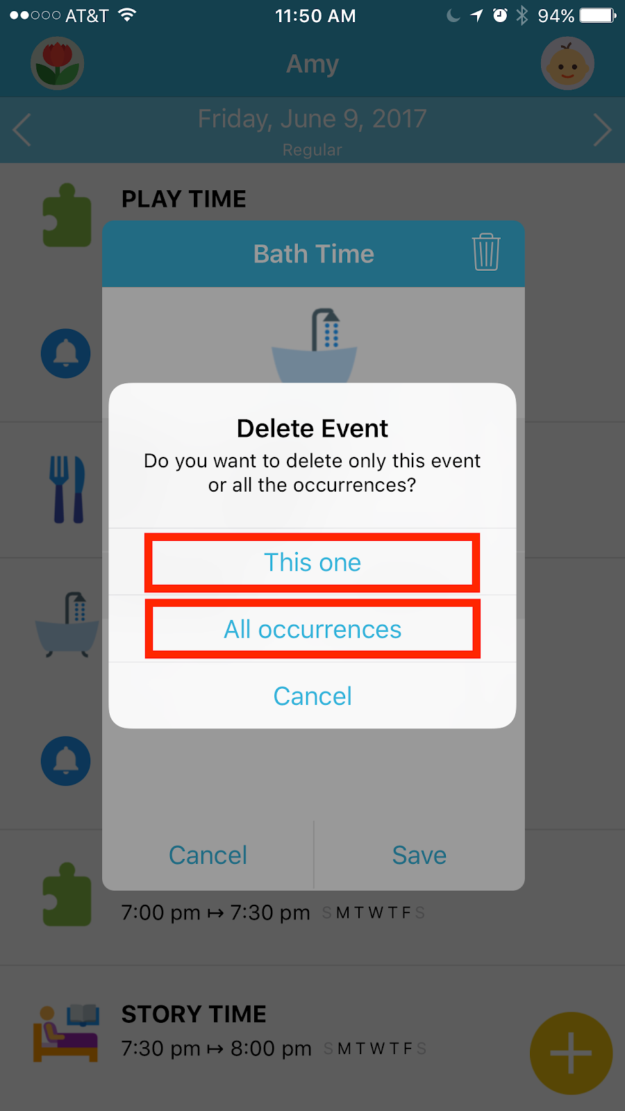 Octopus Watch app: delete an event with iterations
