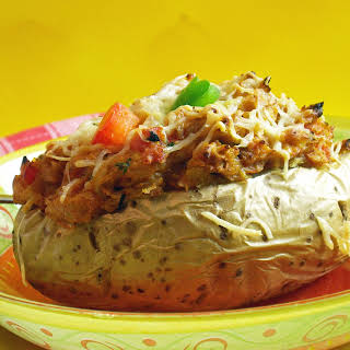 Mexican-Like Chicken Stuffed Baked Potatoes.
