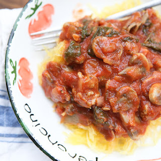 Spaghetti Squash with Sausage and Mushroom Bolognese