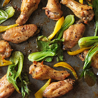 Salt-and-Pepper Chicken Wings with Bok Choy and Peppers.