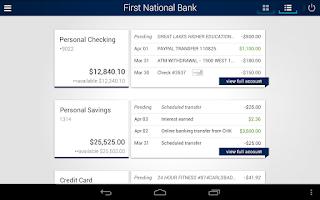 Screenshot of First National Bank Mobile