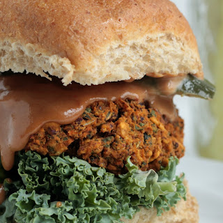 Kidney Bean and Kale BBQ Burger.