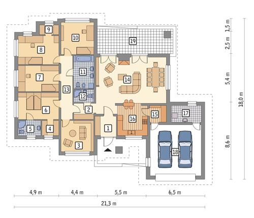 Genialny Projekt domu Przed kominkiem - wariant I - M79a (TDH-431) - 162.0m² BU26