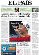 Photo: Alemania presiona al BCE contra el plan de ayuda a España e Italia y Mireia Belmonte consigue la plata en la final de 200m mariposa, en la portada de la edición nacional del jueves 2 de agosto de 2012 http://srv00.epimg.net/pdf/elpais/1aPagina/2012/08/ep-20120802.pdf