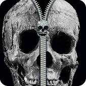 zipper screen lock skull