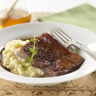 Braised Pork Belly with Creamy Grits.