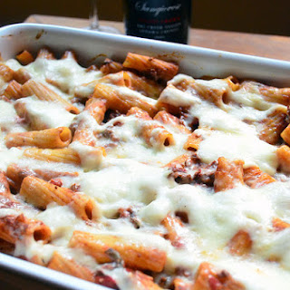 Creamy Baked Rigatoni with Meat Sauce.