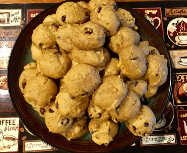 Pumpkin Chocolate Chip Cookies On Plate